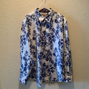 Robert Graham 100% linen embroidered button down